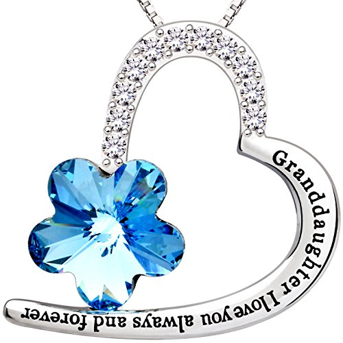 ALOV Jewelry Sterling SilverGranddaughter I love you always and forever Love Heart Crystal Cubic Zirconia Pendant Necklace