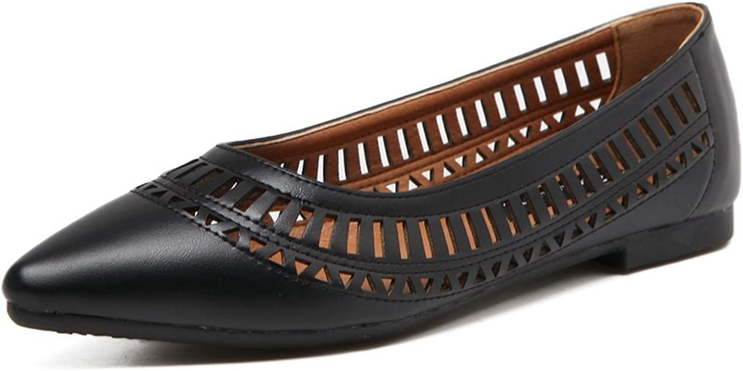Ladola Womens Hollow Out Pointed-Toe No-Closure Solid Urethane Flats shoes