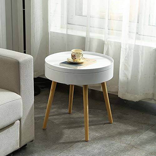 GUOPIN Coffee Tables Bedroom or Living Room Bedside Table Nightstand End Table With Storage Space Wooden Table for Office Furniture (Color : White, Size : 49.5×51.5cm)