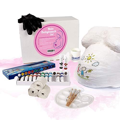 Babybauch Gips-Abdruck 3D komplett Set vom Schwangerschaftsbauch 24-teilig mit 6 Gipsbinden Bauchabdruck Abformset Geschenk für werdende Mütter von praxy