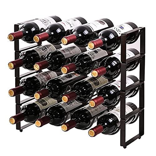 CZYNB Tenedor de Vino de Vino apilable Tenedor de Almacenamiento de Vino Tablero Independiente Organizador del Vino Estante para la Bodega del gabinete de encimera (Size : 4 Layer 16 Bottles)