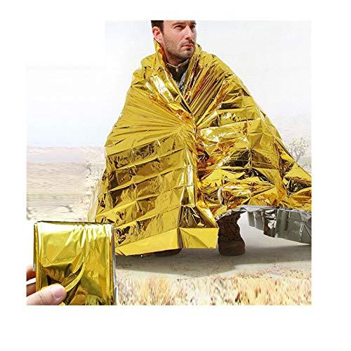 Rettungsdecken Gold 5 Stück Wärmefolie Isolierdecke - wasserdichte Erste Hilfe Notfalldecke Wiederverwendbar - für Notfall Survival Erste-Hilfe-Kit Outdoor Camping Wandern Kälteschutz | 130 x 210 cm