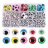 1500 Piezas Ojos de Juguete Plástico, Ojos Móviles Manualidades Pequeños, Adhesivos Ojos para Muñeco...