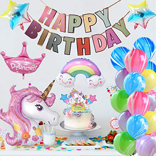 AYUQI Unicornio Decoración de Cumpleaños Niña, ágata Globos Unicornio con Adorno de Pastel de Bricolaje, Pancarta de Feliz Cumpleaños, Papel de Aluminio Globo Látex para niñas