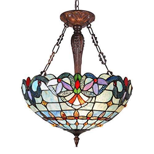 Maxxmore Tiffany Hanging Lamp Classy 3-Light Victorian 18' Wide Stained Glass Pendant Lighting Stained Kitchen Living Dining Room
