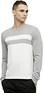 Kenneth Cole Black Label Colorblock Stripe Sweater Grey/White, Cotton/Cashmere