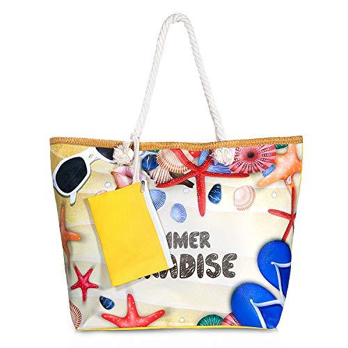 ZWOOS Bolsa de Playa de Lona Mujer Grande Bolso de Mano Shopper Bolsa con Cremallera (Paraíso de verano)