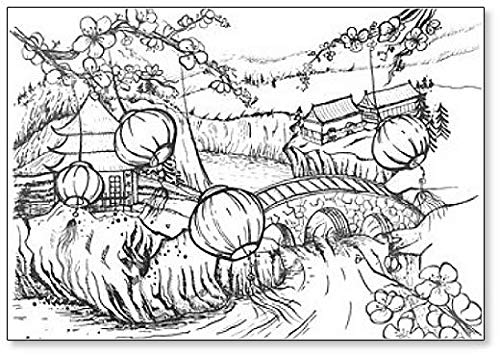 Chinese lantaarns op landelijk landschap schets koelkast magneet
