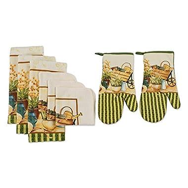 J&M Home Fashions Printed Kitchen Set 1 Potholder, 2 Oven Mitt, 3 Dishtowels, 2 Dishcloths, Wheelbarrow 8 Piece
