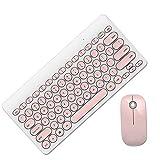Mavis Laven Teclado Inalámbrico Combo De Mouse, Botón De Tapa Redonda Inalámbrico 90 Teclas + Teclado Multimedia y Mouse Set Teclado Bluetooth(Blanco y Rosa)