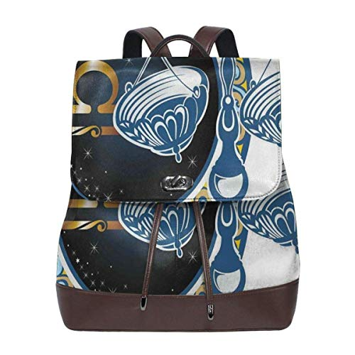 Flyup Zaino in pelle PU Women's leather backpack,Historical Astronomy Icon Sign Libra Pattern With Wheel And Scales Planetary Image,School Travel Girls Ladies Rucksack