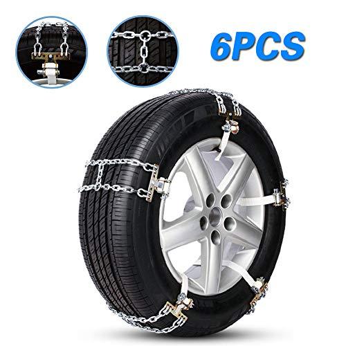 Schneeketten Auto, Winter Universal Reifenketten Auto 6PCS Tragbar legierter Stahl, für Reifen Breite165mm-285mm/6.5-11.2\'\',Für EIS-, Schnee- Feldwege