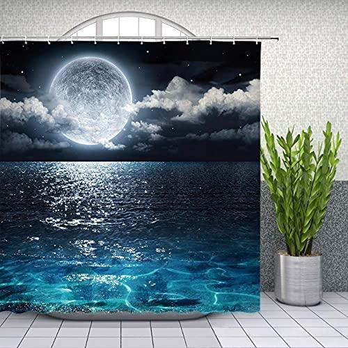 lovedomi Moon duschvorhang volles Meer Ozean Wolke Planet Sternenhimmel Traum nachtansicht schwarz Bad Dekoration duschvorhang Polyester Stoff duschvorhang 72x72 Zoll Bad zubehör Set
