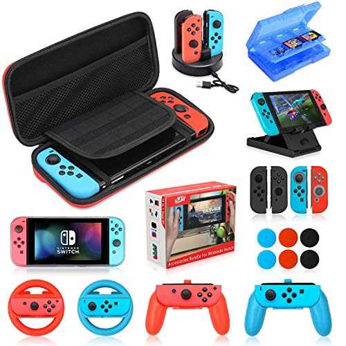 Accessories Kit Bundle for Nintendo Switch,19 in 1 Essential Games Kit for Switch Including Joy Con Covers,Grips,Wheels and Thumbstick Caps, Carrying Bag Charging Dock, Game Card Case PlayStand
