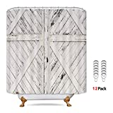 Riyidecor Rustic Barn Door Shower Curtain Painting Gray and White Wooden Vintage Farmhouse Decor Fabric Set Polyester Waterproof 72x72 Inch 12 Pack Metal Hooks