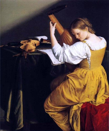 "Art Oyster Orazio Gentileschi The Lute Player - 20"" x 25"" Premium Canvas Print"