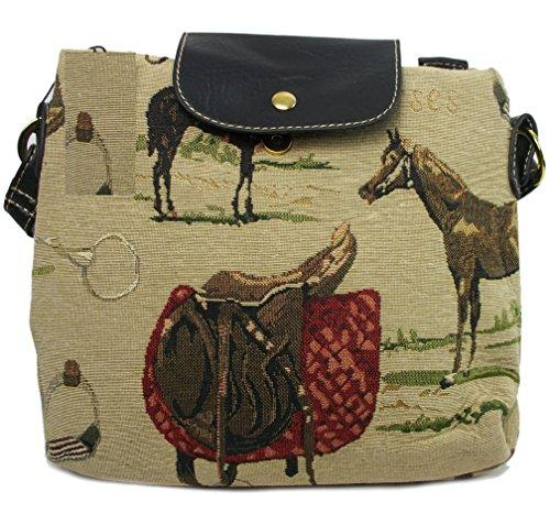 GFM Tapestry Kleine Cross Body Bag Of Tote Of Kussensloop in Paarden/Ruiter/Paardensport Thema