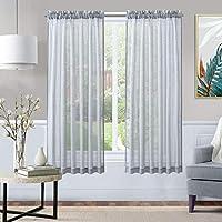 """Xwtex Sheer 63"""" L Curtains for Kitchen Curtains"""