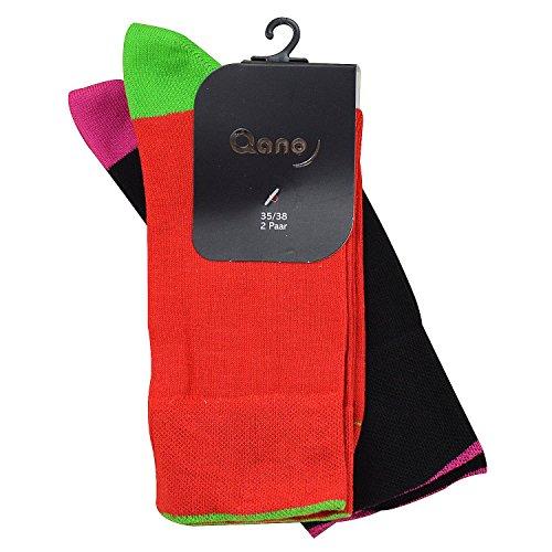 QQano 7006 2er Pack Mädchen/Damen Socken ohne enges Gummi rot & schwarz (35-38, rot & schwarz)