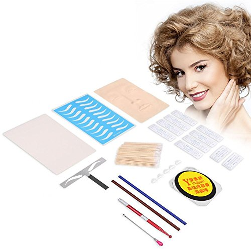 Wenkbrauw permanente tattoo praktijk kit, wenkbrauw lip make-up praktijk huid naalden pigment wenkbrauw liniaal Microblading kit tattoo pen voor leerling gebruik