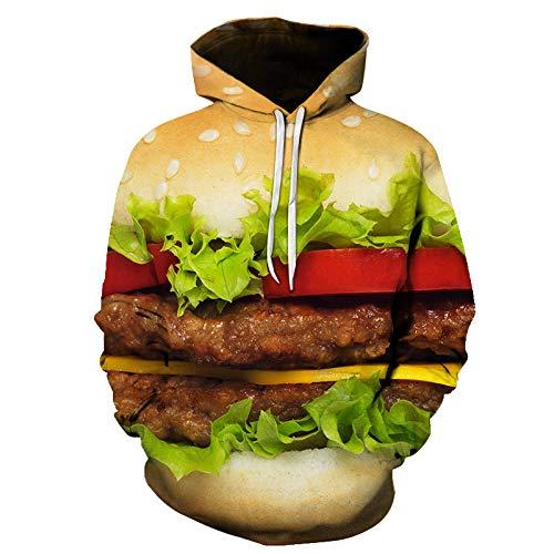 Herren Langarm Hoodie T-Shirt Kapuzenshirt Mit Kapuze Männer Pullover in Vielen Farben3D Gedruckter leckerer Burger LMWY772 XL