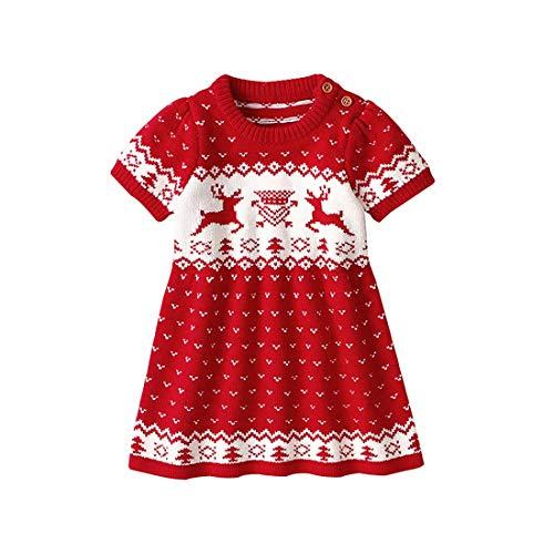 YSSGTT meisjes kinderen Kerstmis korte mouwen ronde hals elandpatroon trui gebreide jurk