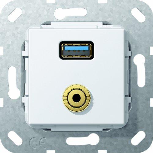 Gira 568703 USB 3.0 A, M jack kabelzweep inzet, zuiver wit