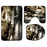 Alfombra de baño antideslizante de 3 piezas Juego de tapa de asiento de inodoro Alfombrilla de baño antideslizante natural Nube de lluvia majestuosa con una tormenta eléctrica en todo el océano Flash