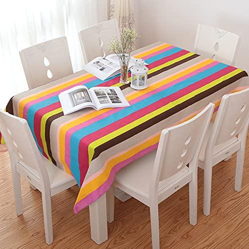XGguo Mantel Cocina Salón Limpiar. Impresión de algodón a Rayas de Color