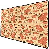 Mouse Pad Gaming Funcional Fiesta del té Alfombrilla de ratón gruesa impermeable para escritorio Juego de té a la antigua con deliciosos pasteles cremosos con cerezas,crema de naranja pálida de naranj