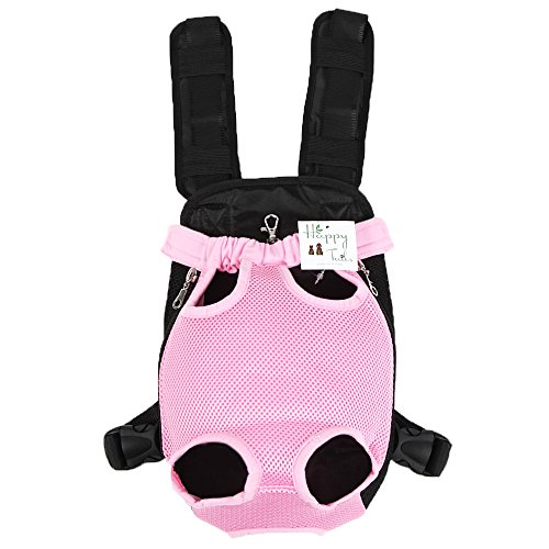 【HappyTails】2017 改良 肩パット付 犬用 猫用 両手が使える 抱っこバック おんぶひも… (M, ピンク)