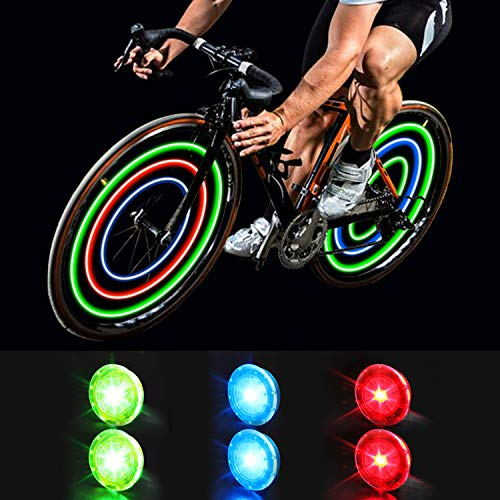 MapleSeeker Bike Wheel Lights Bike Spoke Lights with Batteries Included, Waterproof Bicycle Wheel Lights for Safe Cycling, Easy to Install Cool Bike Lights for Wheels (6-Pack Multi-Color)