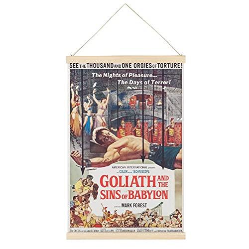 Oldove Goliath y los pecados de Babilonia percha marco para colgar carteles de pergamino lienzo decorativo para pared decoración de habitación 30,5 x 45,7 cm