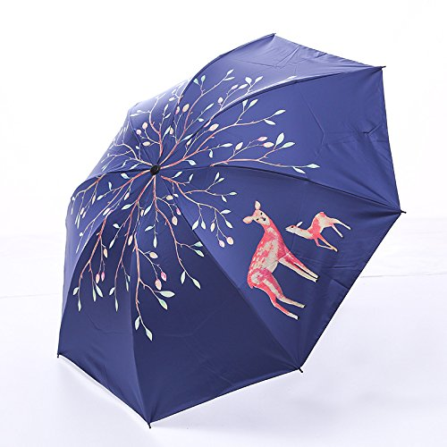 WYJ Regenschirm Baum Malerei Deer Taschenschirm Für Frauenwasserdichte Tragbare Bleistift Reise Regenschirme Männer Mini Tasche Weiß Sonnenschirm