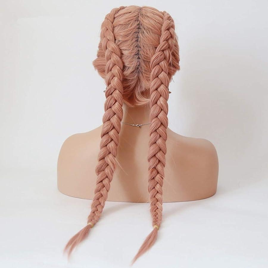 ブロックする美容師合唱団Koloeplf スコーピオン汚れたウィッグフロントレースウィッグ女性のヨーロッパとアメリカのロングストレートヘアピンクケミカルファイバーヘア (サイズ : 26 inches)