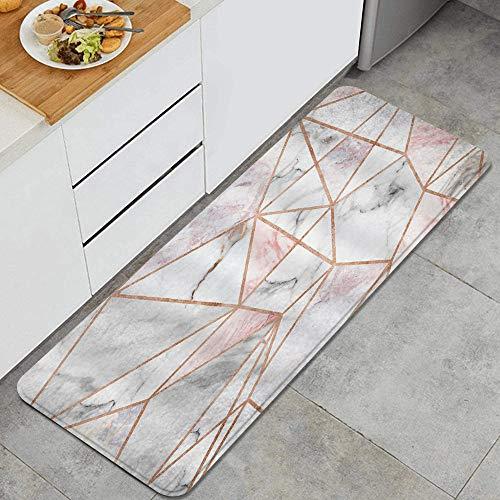 LISNIANY Küchenfußmatten Küche Bodenmatte Komfort,Geometrische Marmor Rosa Streifen Oberfläche Blöcke Rissige Muster Linien Weißes Panel Realistischer Kunstdruck,rutschfeste Küche Teppiche