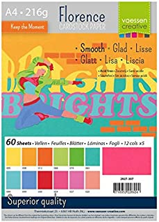 Vaessen creative Florence Papier Cartonné, Couleurs Vives, 216g, A4, 12x5 Feuilles, Surface Lisse, pour Peindre, Scrapbook...