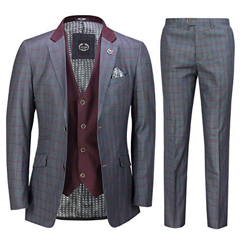 Xposed Herren 3 Stück Grau Blau Retro Gitter Karierter Anzug mit zweireihiger Weste Maßgeschneidert[SUIT-BEN-Blau-44]