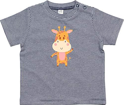 Kleckerliese Baby Kinder T-Shirt Sprüche Nicki gestreift Motiv Tiermotiv Tiere Giraffe, NavyWhite, 3-6 Monate