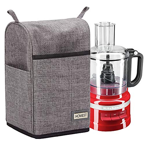 HOMEST Food Processor Dust Cover with Accessory Pockets Compatible with KitchenAid 7-11 Cup, Grey (Dust Cover Only, Patent Pending)