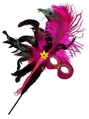 Mardi Gras Masquerade Feather Costume Stick Mask or Table Centerpiece Decoration (FUCHSIA)