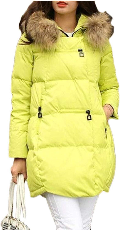 Alion Women Winter Down Coats Faux Fur Hood Down Parka Puffer Jacket