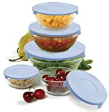 10-piece glass nesting bowl set, perfect for storing leftovers capacities include 2/3-cup, 1-cup, 1-1/2-cup, 2-1/3-cup, and 4-2/3-cup bowls plastic ridged lids securely snap closed-great for transporting to work or parties reusable-great for avoiding...