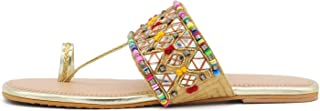 Girl's & Women's Slip on Embroidered Ethnic Flat Sandals (Sultan, numeric_6) UK Size 6