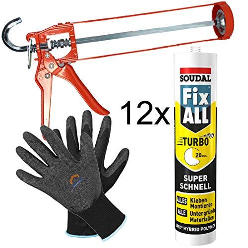 SOUDAL Fix All Turbo WEISS 12 x 430 g + Skelettpistole + Finegrip Handschuh