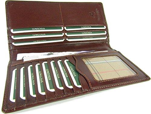 Neue Top Reihe von Visconti italienische glasiert Leder Turin Brusttasche Wallet Geld Bag Stil MZ Mehrfarbig braun