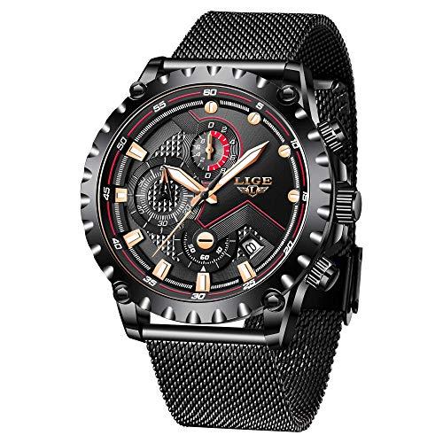 LIGE Relojes Hombre Cronógrafo Deportivo Fecha Analógicos Relojes para Hombres Acero Inoxidable Negocios Reloj