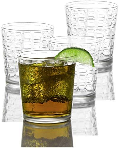Circleware Blocks Set of 4 Heavy Base Drinking Whiskey Glasses Glassware Cups for Vodka, Brandy, Scotch, Bourbon & Liquor Beverages, 12.5 oz