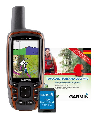 Garmin GPSmap 62s GPS-Gerät + Topo Deutschland 2012 Pro gesamt Freizeitkarte, auf microSD, M10-DE100-20