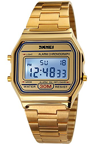 PASOY Men's Digital Gold Stainless Steel Watch Backlit, Gold, Size Medium